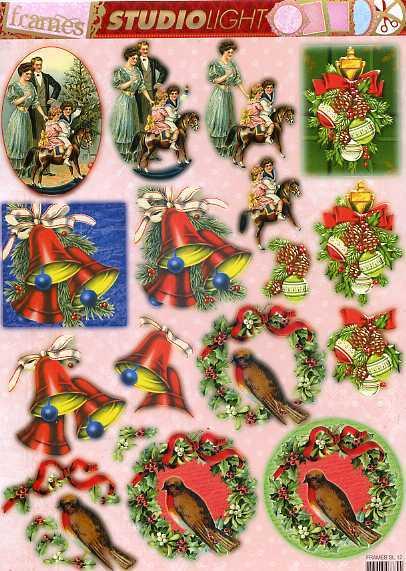 Nostalgische Weihnachtsmotive.Studio Light Frames Stanzbogen Weihnachtsmotive