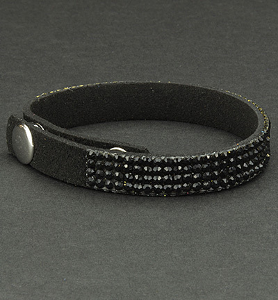 Faux Suede Bracelet With Jewelry Black