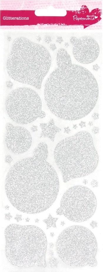 Christbaumkugeln Sterne.Stickerbogen Glittersilber Christbaumkugeln Sterne