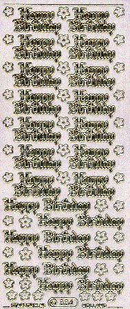 "Stickerbogen ""Happy Birthday"" (transparent-glitter mit Goldk.)"