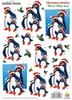 "2 Bogen A4 Design House 3-D Schneidebogen ""Winter Holly-Day Pinguine"""