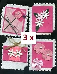 3 x Embelishments 4 Motive aus Naturpapier