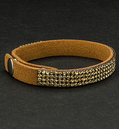 Faux Suede Bracelet With Jewelry Brown
