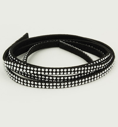 Cord With Double Row Studs Black