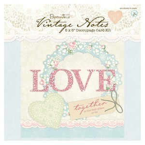 "*Decoupage Card Kit ""Vintage Notes"""