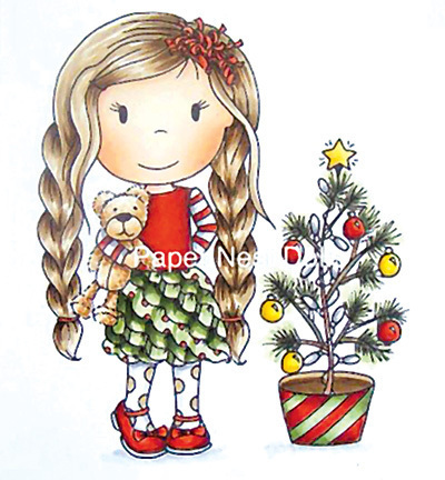 "Paper Nest Dolls Rubber Stamps ""Christmas Tree Ellie"""