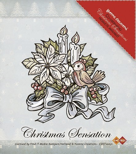 "Yvonne Creations Clear Stamp ""Christmas Sensation - Flower and Candles"""