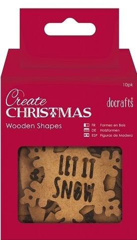 "Docrafts ""Create Christmas"" 10 Holz-Anhänger ""Sentiments"""