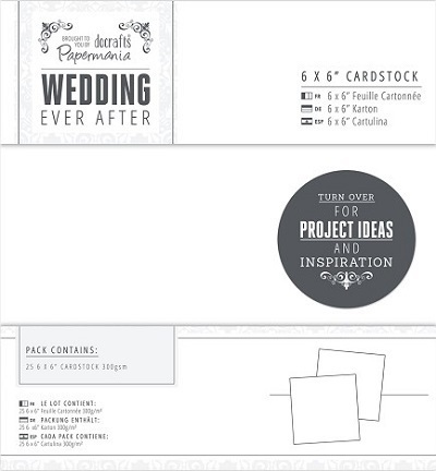 "Papermania ""Wedding ever after"" Hochzeitsaccessoires, 25 x ""6 x 6"" Karton 300 g/m²"