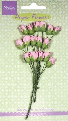 Marianne design Paper Flowers Roses bud pink