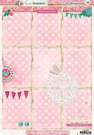 "Stanzbogen A4 ""Sweet Romance - ATC Backgrounds"""
