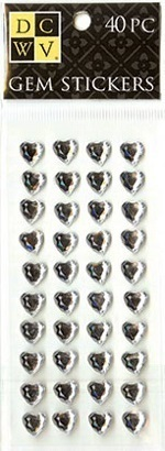 DCWV GEM Sticker Hearts Clear / Herzen transparent