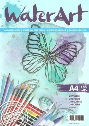 *WaterArt Aquarellpapier 20 Blatt A4, 185 g.