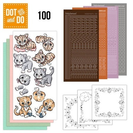 *13 tlg. Bastelset Dot and Do 100 Katzen