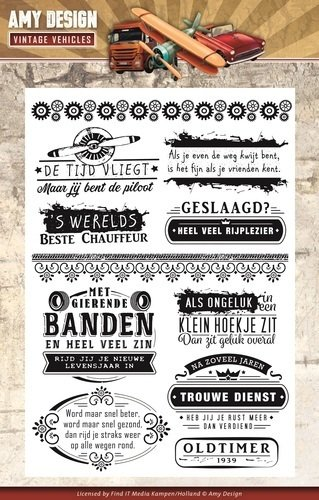 Amy Design 11 Clear Stamps VINTAGE VEHICLES Texte