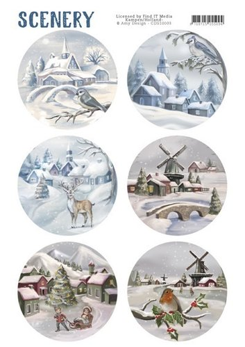 Die Cut Topper - Scenery Snow Villages