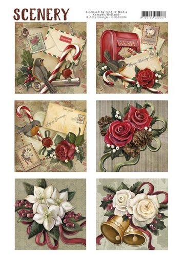 Die Cut Topper Scenery - Christmas roses